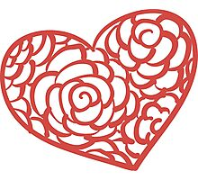 Heart from paper Valentines day card vector background Photographic Print
