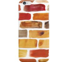 Brick wall - watercolour painting in brown, red and yellow shades iPhone Case/Skin