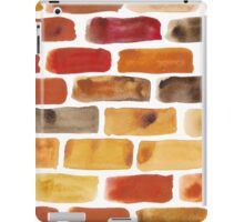 Brick wall - watercolour painting in brown, red and yellow shades iPad Case/Skin