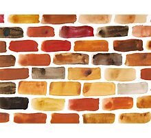 Brick wall - watercolour painting in brown, red and yellow shades Photographic Print