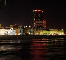 Atlantic City NJ - Ballys on the Boardwalk at night by Allen Lucas
