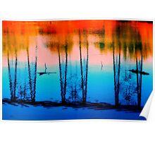 Sunset & Bridge on Water Poster