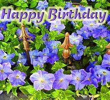 Purple Garden - Happy Birthday by Donna Grayson