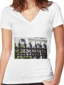 Black Iron Spikes Women's Fitted V-Neck T-Shirt
