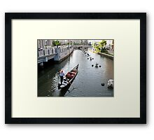 Gondola cruise on Waterfire Night ~ Providence Framed Print