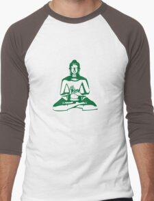 Buddha (Green Print) Men's Baseball ¾ T-Shirt