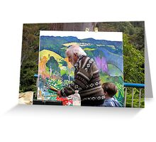 Artist at work with assistant ......John Rigby.  Greeting Card