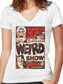 Grindhouse Lounge: Weird Show Women's Fitted V-Neck T-Shirt