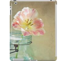 Vintage Inspired Pink and Yellow Tulip in Blue Jar iPad Case/Skin