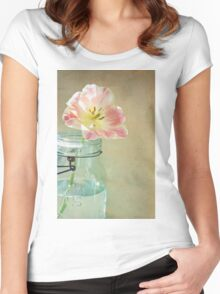 Vintage Inspired Pink and Yellow Tulip in Blue Jar Women's Fitted Scoop T-Shirt