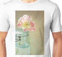 Vintage Inspired Pink and Yellow Tulip in Blue Jar Unisex T-Shirt
