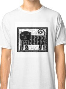 Black and White Stripey Cat Classic T-Shirt