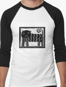 Black and White Stripey Cat Men's Baseball ¾ T-Shirt