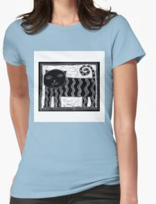 Black and White Stripey Cat Womens Fitted T-Shirt