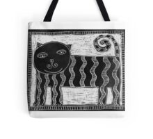 Black and White Stripey Cat Tote Bag