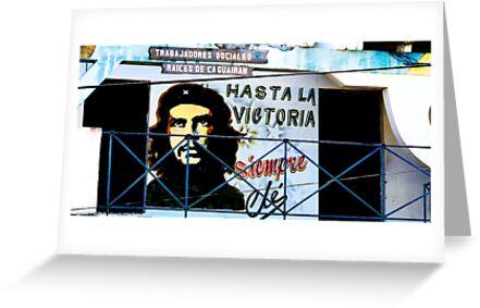 Artwork of Che on Trabajadores Sociales building, Vinales, Cuba by buttonpresser