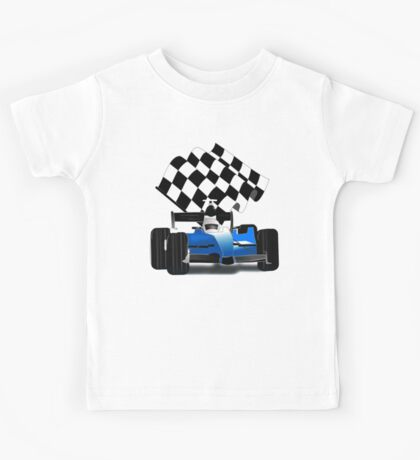 Blue Race Car with Checkered  Flag Kids Tee