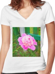Pink Peony 4 Women's Fitted V-Neck T-Shirt