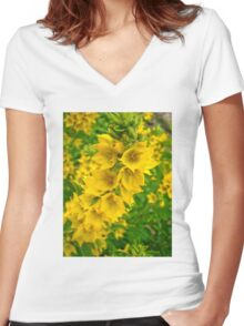 Small Yellow flowers 2 Women's Fitted V-Neck T-Shirt