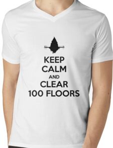 Keep Calm and Clear 100 Floors Mens V-Neck T-Shirt