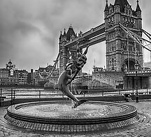 Girl with a Dolphin at Tower Bridge 2 by Chris Thaxter