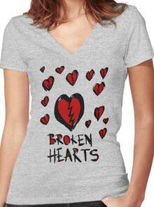 Broken hearts Women's Fitted V-Neck T-Shirt