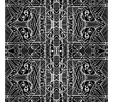 Black and White Tribal Geometric Pattern Print Photographic Print