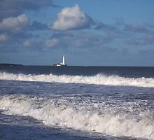 St Mary's Lighthouse basking in the sun by Jackie Wilson