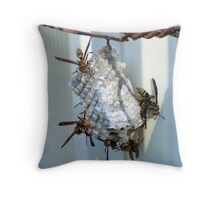 Active Wasp Nest Throw Pillow