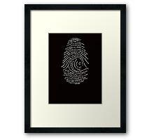 Darwin's Fingerprint wht by Tai's Tees Framed Print