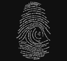 Darwin's Fingerprint wht by Tai's Tees by TAIs TEEs