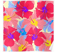 pattern with hibiscus  Poster