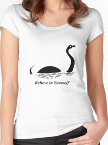 Believe in Yourself - The Loch Ness Monster (Black) Women's Fitted Scoop T-Shirt