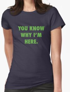 You Know Why I'm Here.  Womens Fitted T-Shirt