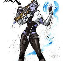 Aria from Mass Effect sumi and watercolor style by Mycks