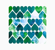 Mod Green & Blue Grungy Hearts Design Unisex T-Shirt