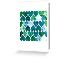 Mod Green & Blue Grungy Hearts Design Greeting Card