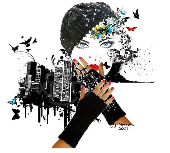 Fall In City/ Fashion Illustration by Mariska