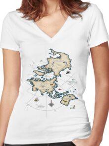 Mercator Map Women's Fitted V-Neck T-Shirt