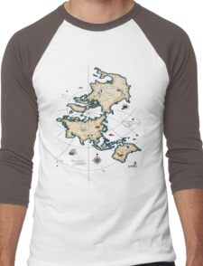 Mercator Map Men's Baseball ¾ T-Shirt