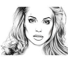 Angelina Jolie minimalist art portrait - digital painting Photographic Print