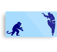 Monkey Kung Fu with Knife Metal Print