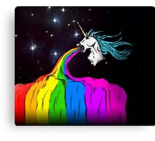 Unicorn puking rainbow Canvas Print