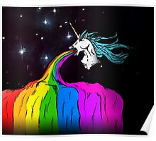 Unicorn puking rainbow Poster