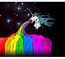 Unicorn puking rainbow Photographic Print