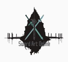 Sword Art Online Swords with Aincrad (White Background) T-Shirt