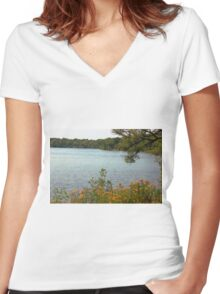 Lake Superior  Women's Fitted V-Neck T-Shirt