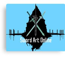 Sword Art Online Swords with Aincrad (Coloured Background #2) Canvas Print