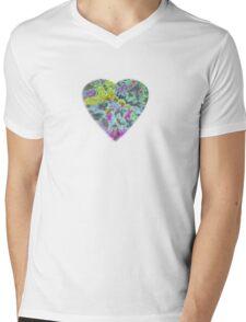 Color Burst Heart Mens V-Neck T-Shirt