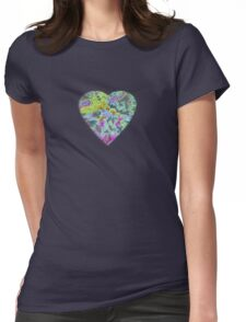 Color Burst Heart Womens Fitted T-Shirt